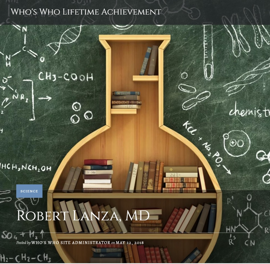 Dr. Robert Lanza Who\'s Who Archivement Award graphic