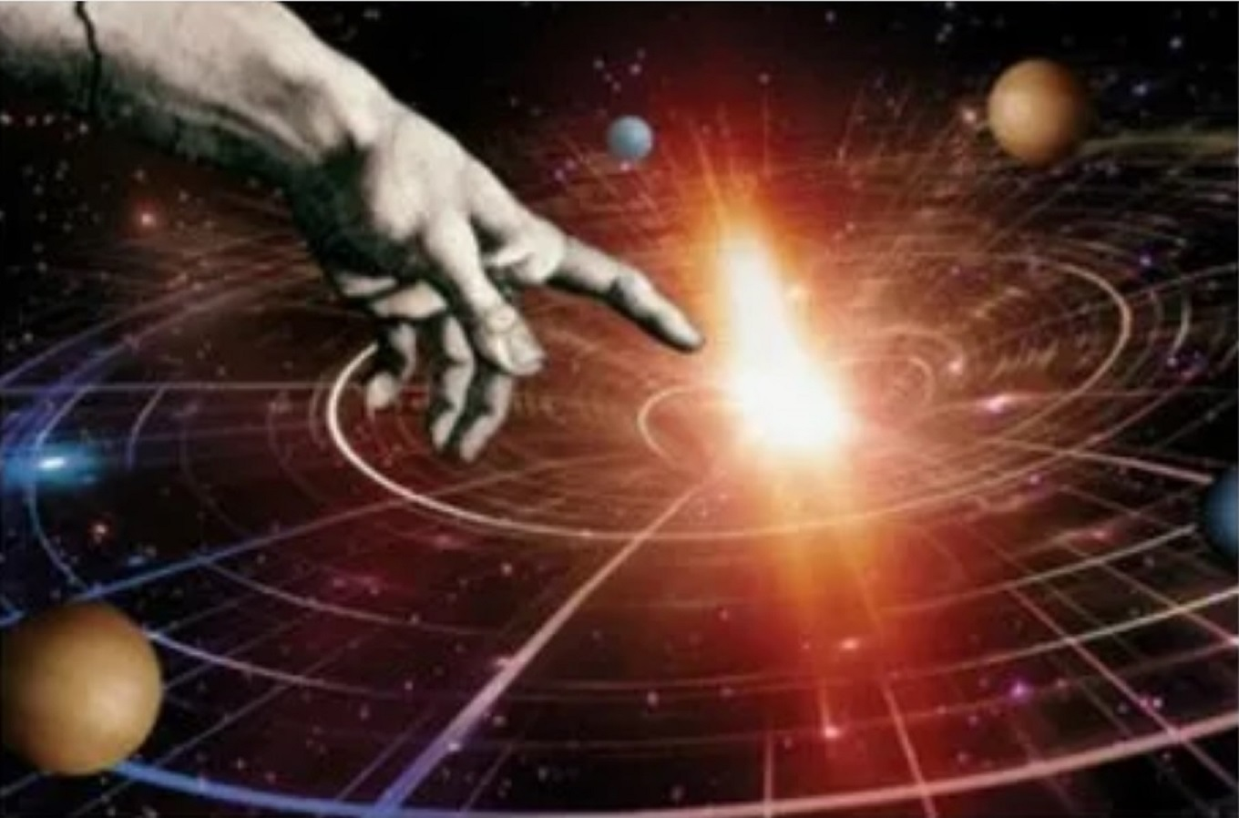 Picture of hand touching a blackhole